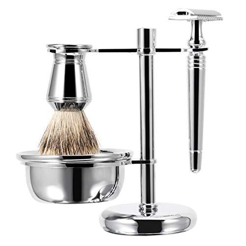 Grandslam Luxury Man's Shaving Set Pure Badger Hair Brush Safety Razor Stand Bowl Metal