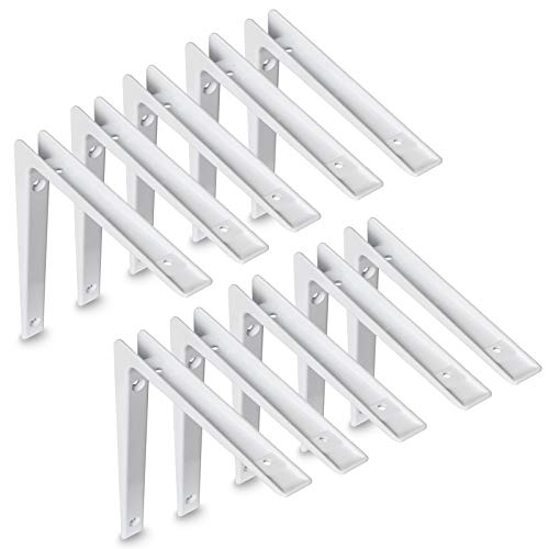 Aluminium Regalkonsole | Regalhalter | Regalbodenträger | Regalwinkel | Regalträger | Weiß | Winkelkonsole (100 x 150mm | 10 Stück)
