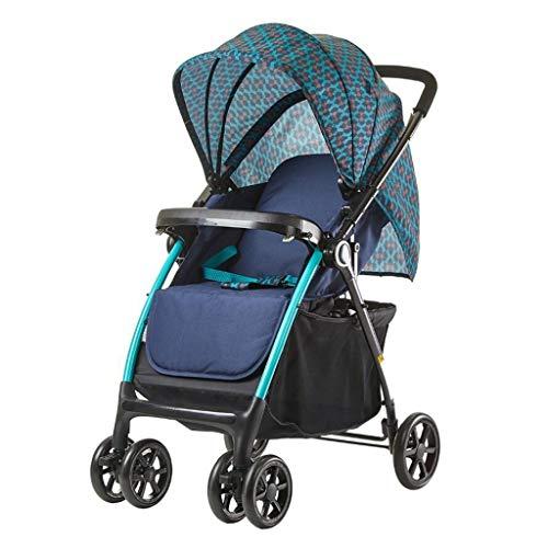Wjvnbah Carritos ligero Bidireccional plegable silla de paseo con alta paisaje puede sentarse y acostarse cochecito de bebé, Portátil cuatro ruedas Amortiguador, universal del recorrido de la sombrill