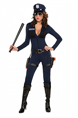 shoperama Mujer Disfraz–Traffic Cop Catsuit–Incluye Gorro Agente de Policía Police Sexy Mono