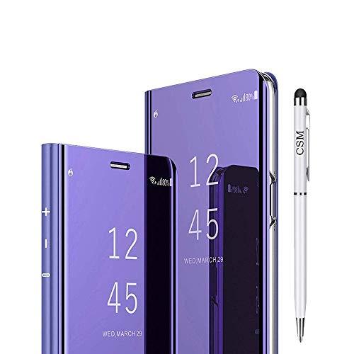 Capa flip para Huawei Mate 20 Pro, capa com suporte galvanizado de luxo, capa inteligente transparente com protetor de tela, cobertura total, película flexível para Huawei Mate 20 Pro (Violeta)