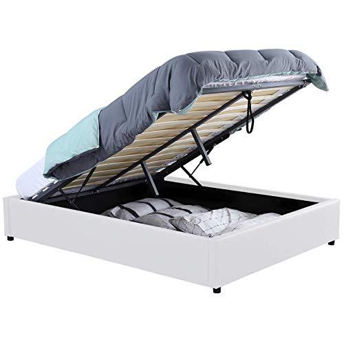 IDMarket - Lit Coffre Miami PVC Blanc avec sommier 140 x 190 CM