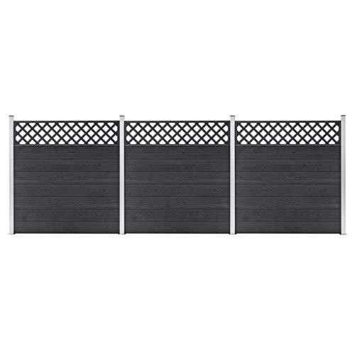 Extaum WPC Zaun-Set 3 Quadrate Zaunbrettern Garteneingrenzung Modulares Design 526x185 cm Grau Holz-Kunststoff-Verbundwerkstoff