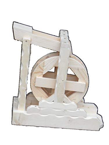 Arbrikadrex Wasserrad Mühlenrad Bachlauf Wassermühle Vollholz Handarbeit Garten Deko voll funktionsfähig Premium (Premium XL)