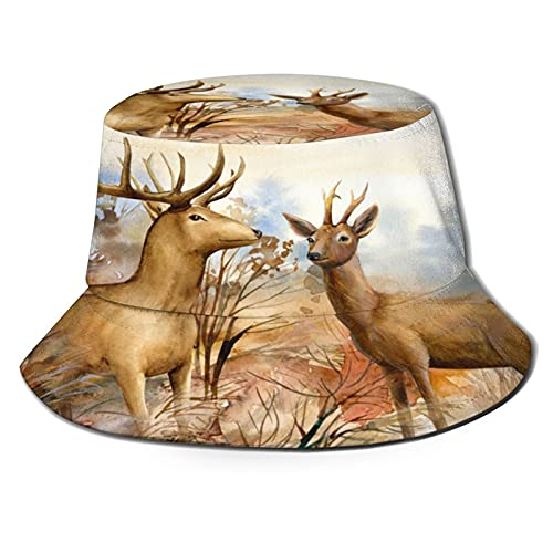 The Art of Two Deer in The Forest Unisex Casual Bucket Sun Hat Fisherman Cap for Fishing Hiking Camping