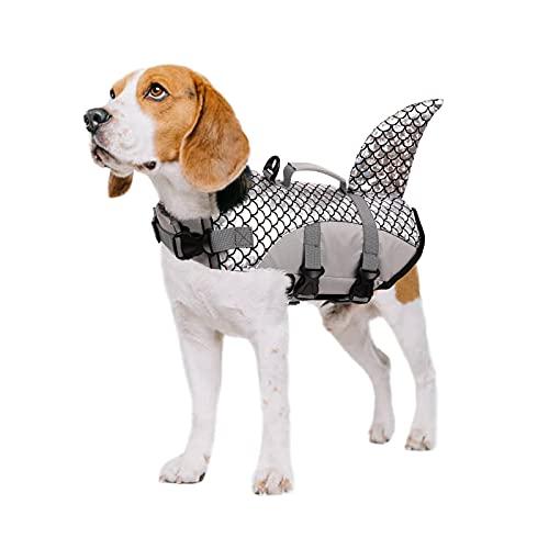 PUMYPOREITY Chaleco Salvavidas para Perros Mascotas Chaqueta Chaleco de Seguridad Perro Perrito Ropa de Baño para Perros pequeños, medianos, Grandes(Gris, L)