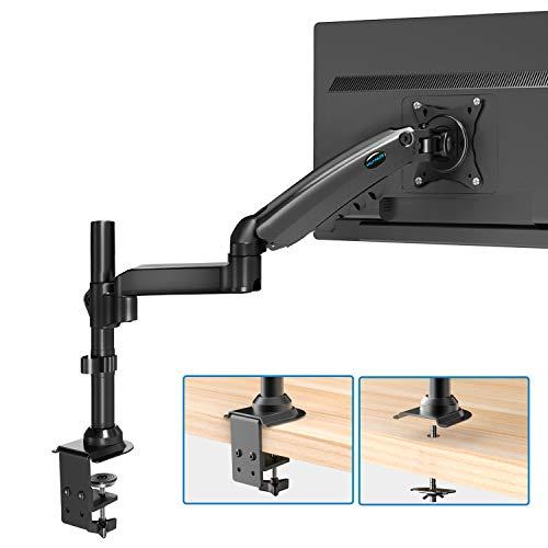 HUANUO 17-32 Zoll Monitor Halterung für LCD LED Bildschirm, Gasdruckfeder Arm 360° Drehbar, Vesa 75/100 & Belastbarkeit 2-9 KG