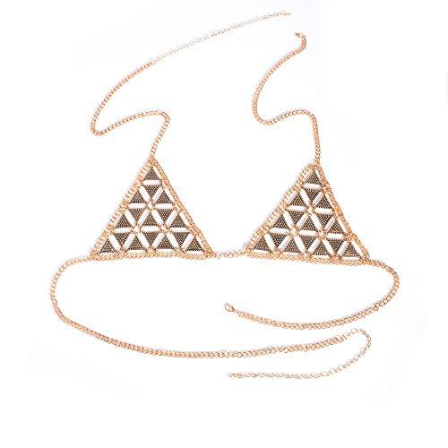 Onefeart Vergoldet Halskette Anhänger für Frauen Dreieck Gestalten Truhe Kette Retro Übertriebener Stil Anhänger Schmuck 13CMx29CMx27CM Gold