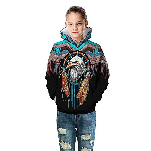 Unisex Indian Native Vintage American Eagle 3D Print Hooded Sweatshirts Hoodie for Boy Girl Kids