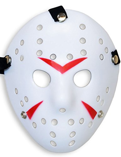 HomeTools.eu® - Halloween Maske, Kostüm Horror Hockey Myers Gesichts-Maske, Fasching, Karneval, Grusel-Kostüm Hockey-Maske Fratze, Weiss