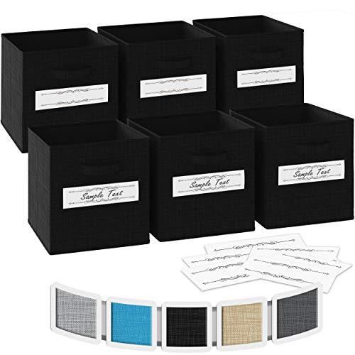 Ordnungsbox 33x33x33- 6 Boxen Aufbewahrung Set | Faltboxen Mit Zwei Tragegriffen & 10 Label Karten | Faltbare Kallax Boxen | Extra Stabile Stoffbox Als Kallax Einsatz | Kisten Aufbewahrung [Schwarz]