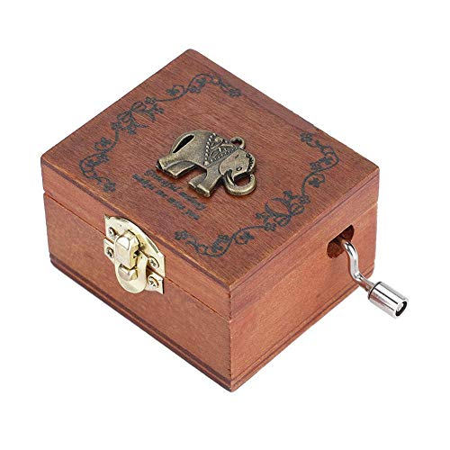 Akozon Hand Kurbel Spieluhr hölzerne Hand Kurbel Spieluhr mechanische klassische Handwerk Geburtstagsgeschenk Handkurbel Uhrwerk Spieluhr Melodie Wishing Holz Spieluhr (Elefant-Muster)