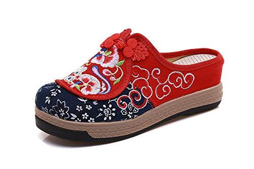 AWSAYS 2019 ÉTé Mesdames Style Chinois SéRie De Nouvel an Classique Boucle RéTro Brodé Broderie Sandales Et Pantoufles