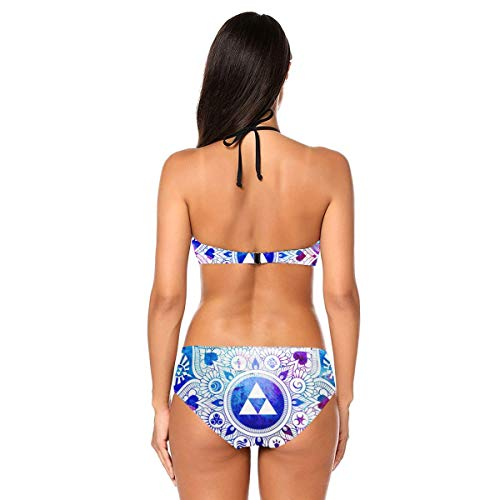 Funny Legend of A Zelda Mandala Packable Women Swimsuit Bikini Set Halter Beach Holiday(Large,Black)