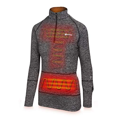 Venture Heat Women's Heated Shirt Thermal Underwear with Battery Pack - Long John, 1/4 Zip Electric Base Layer, Nomad (S, Charcoal)