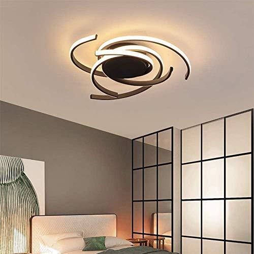 Lámpara de techo LED para salón regulable comedor dormitorio lámpara elevadora moderna lámpara de techo metal acrílico pantalla de techo cocina cuarto de baño pasillo, 56 x 10 cm (negro)