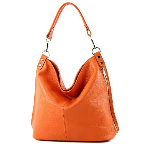 modamoda de - T177 - ital. Damen Schultertasche aus Leder, Farbe:Orange