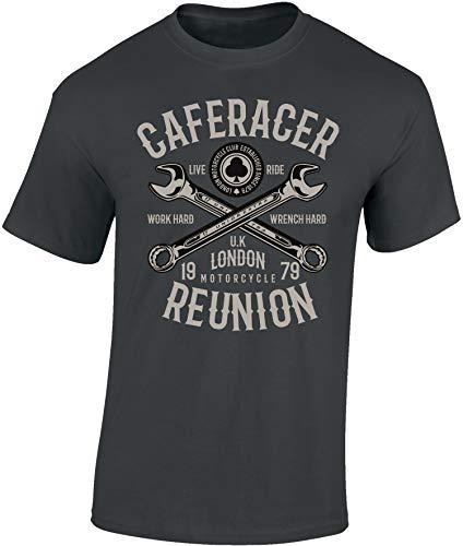 Camiseta: Cafe Racer Reunion - Regalo Motero-s - T-Shirt Biker Hombre-s y Mujer-es - Motocicleta - Bike - Chopper - Moto Club - Anarchy - Motociclismo - Calavera - USA - Motocross (Gris XL)