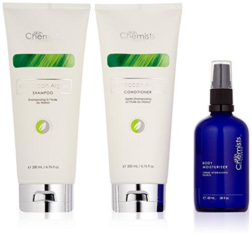 skinChemists Coffret Soin Global Corps : Crème Hydratante Corps, Shampooing à L'huile du Maroc & Après-shampooing à L'huile du Maroc (3 Produits)