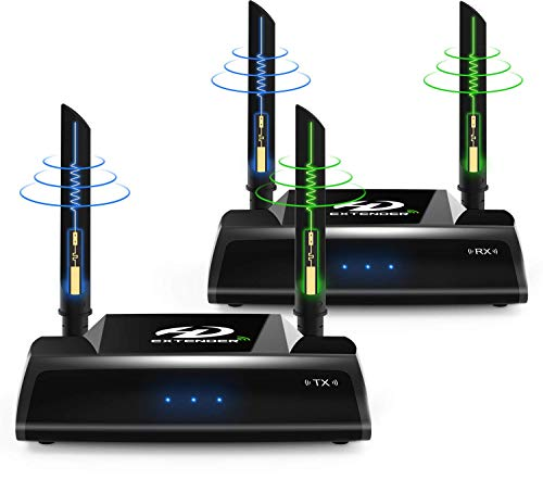 Wireless HDMI Extender, 5GHz HDMI Loop Output Transmitter and Receiver for TV/AV, Support 1080P 60Hz Full HD with IR Remote Control, 656FT Transmission for Projector Monitor Church Office Home