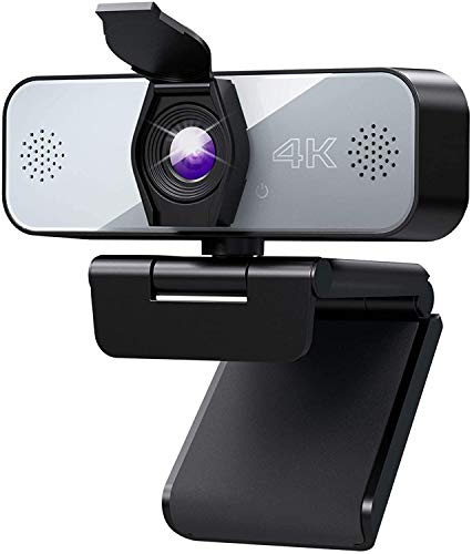 Webcam con Microfono,Yoroshi 4k Cámara PC con Clip Giratorio Cubierta de Privacidad, Webcam PC para Videollamadas, Clases en Línea, Juegos, Compatible con Windows, Mac y Android