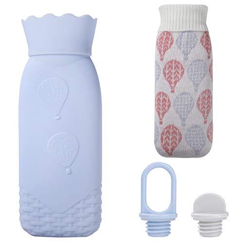 Wärmflasche aus Silikon Mini Sicher Tragbar Mikrowelle Heizung Wärmflaschen BPA-frei Kinder-Wärmebeutel mit Strickbezug, Geschenk für Geburtstag Weihnachten, 520ML (Blau)