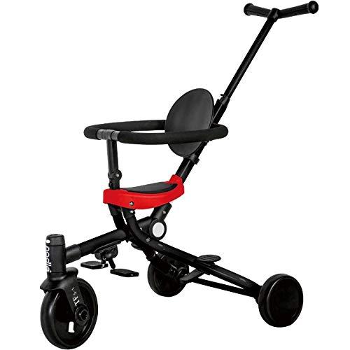Multifunctionele lichte kar twee-weg kar anti-slip baby artefact duwen driewieler opvouwbaar Rood