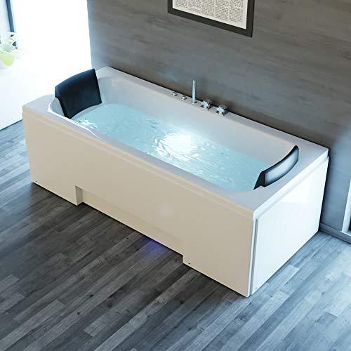 Tronitechnik Whirlpool Badewanne IOS 170cm x 75cm inkl. Spülfunktion, Hydromassage und Farblichtherapie weiß
