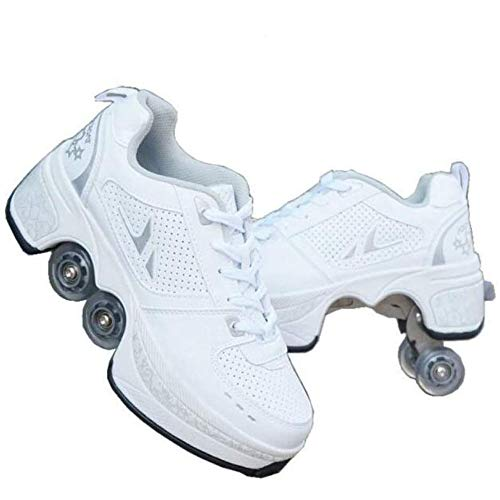 duvetset Roller Skates Damen Inline Skates Mädchen,Roller Skates Verstellbar Sneakers 2-in-1 Mehrzweck-Schuhe Unisexe Skates,Weißes-EU38