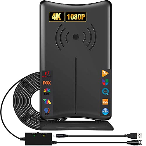 Kiteca Amplified Digital HDTV Antenna Support Smart TVs and All Older TVs -200+ Miles Range 360° Reception Portable TV Antenna with Signal Booster Indoor Outdoor Antenna 4K 1080p More Channels