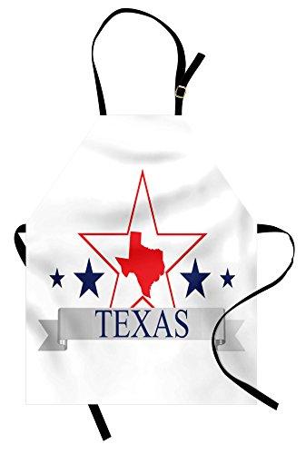 Ambesonne Texas Star Apron, San Antonio Dallas Houston Austin Map with Stars Pattern USA, Unisex Kitchen Bib Apron with Adjustable Neck for Cooking Baking Gardening, Navy Blue Vermilion Pale Grey