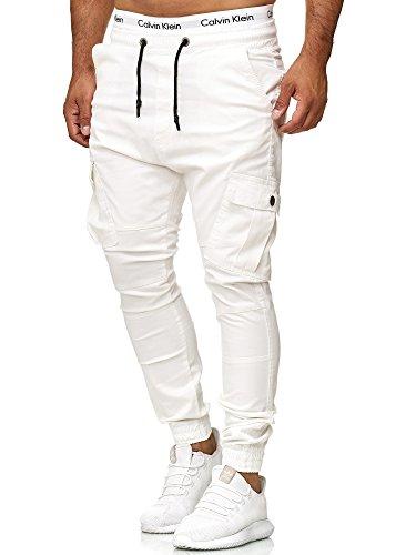 Code47 Herren Chino Jogg Jogger Jeans Slim Fit Cargo Stretch W29-W38 Weiß W30 L32