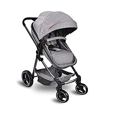 Cozylifeunion Lightweight Baby Stroller, Convertible Bassinet Reclining Stroller, Foldable Pram Carriage Anti-Shock Pushchair with Aluminum Frame, 5-Point Harness and High Capacity Basket(Gray)