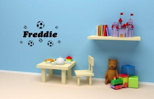 Adhesivo decorativo para pared con nombre personalizado y fútbol, 200 mm x 600 mm, cualquier color con cualquier nombre