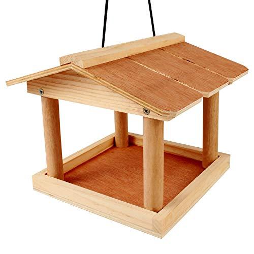 Mangeoire à suspendre en bois pour oiseaux sauvages, arbre ou support pour oiseaux – Maison pour oiseaux en bois – Mangeoire pour oiseaux en plein air avec corde de suspension pour jardin parc