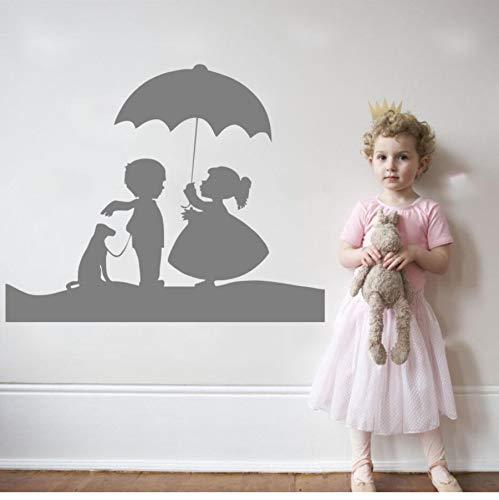 zwyluck Meisjes en jongens met hond en paraplu, mooie muurstickers voor kinderen kinderkamer kinderkamer Sweet Decor W