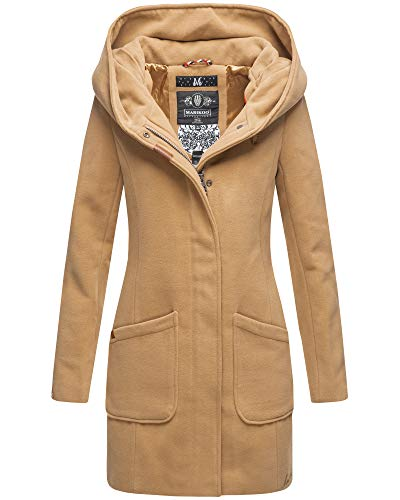 Marikoo Damen Winter Jacke Mantel Business Trenchcoat Wintermantel Parka XS-XXL MAIKOO (XL, Camel)