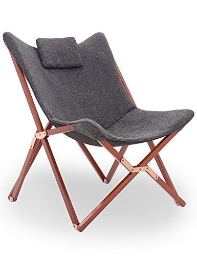 Klappstuhl Liegestuhl Gartenliege Lounge Sessel Modern Design Hochlehner TV Relaxliege Stühle Klappbar Mit Holz und Stoff Für Camping Drinnen und Draußen Dunkelgrau