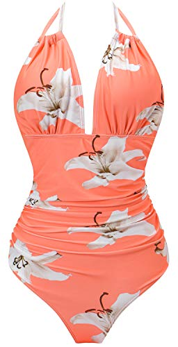 I2CRAZY Tankini Swimsuits for Women Sexy Vintage Print Beachwear - S,Flower-07