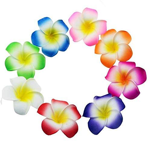 80 Pcs 70mm 3.7inch Mixed Color Sponge Hawaii Hawaiian Plumeria Flower for Bridal Wedding Party Beach Jewellery Garland Hair Clip DIY Making Home Decoration