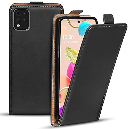 Verco Flip Cover für LG K42 Hülle, Flipstyle Schutzhülle für LG K42 Hülle Kunstleder Tasche vertikal klappbare Handyhülle, Schwarz