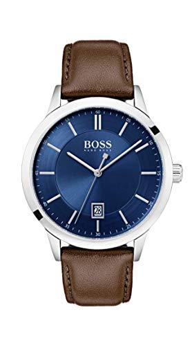 Hugo Boss Herren Analog Quarz Uhr mit Leder Armband 1513612
