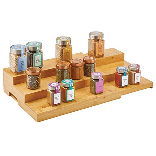 mDesign Adjustable, Expandable Kitchen Bamboo Storage Cabinet, Cupboard, Food Pantry, Shelf Organizer Spice Bottle Rack Holder - 3 Level Storage - Up to 30 Inches Wide - Natural