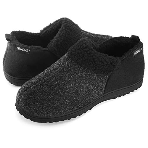 ULTRAIDEAS Men's Cozy Memory Foam Slippers with Warm Fleece Lining, Wool-Like Blend Micro Suede House Shoes with Indoor Outdoor Rubber Sole(Dark Grey, Size 13)
