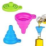 Fohil Imbuto in Silicone, Imbuto Silicone Pieghevole, Flessibile Cucina Imbuto del commestibile del Silicone per Trasferimento di Liquidi e Polvere (3 Pezzi)