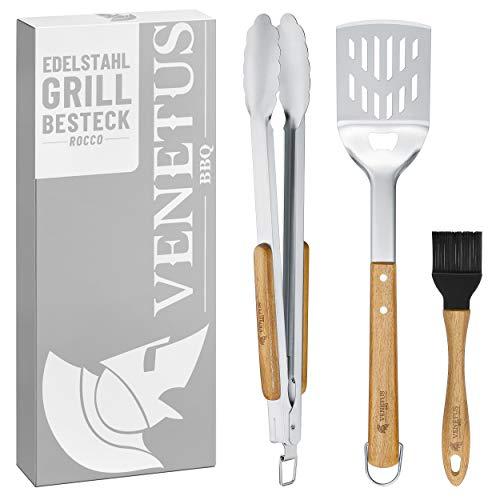VENETUS-BBQ Grillbesteck aus edlem Akazienholz – Grillzange, Wender und Pinsel