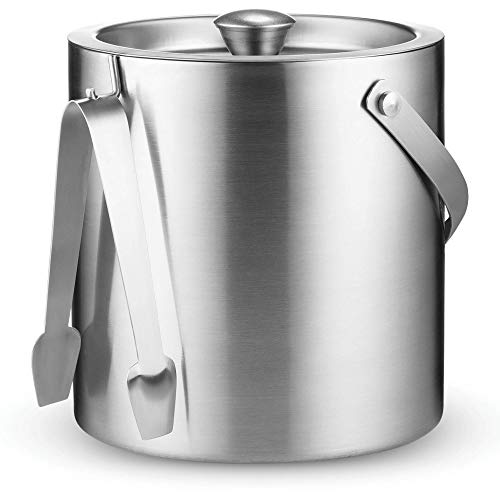 Double Wall Stainless Steel Insulated Ice Bucket With Lid and Ice Tongs [3 Liter] Included Strainer Keeps Ice Cold & Dry