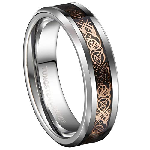 18K Rose Gold Plated Celtic Dragon 6mm Tungsten Carbide Wedding Band Ring Size 13