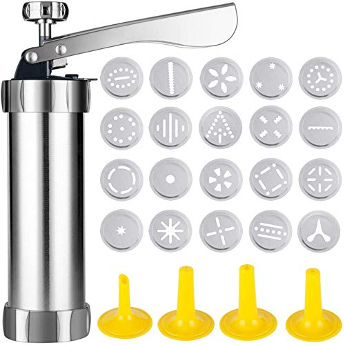 Cookie Press Machine Stainless Steel Biscuit Maker and Churro Maker with 20 Discs and 4 Icing Tips