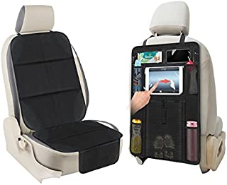 AOAFUN 1 Set Car Seat Protector&Kick Mat Auto Seat Back Protector,Extra Large Storage Pocket,Prevents Dirt and Damage-Allows Easy Access to Baby Items! (Black)